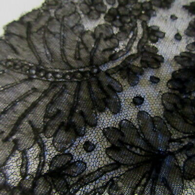 1800's ANTIQUE HANDMADE CHANTILLY LACE SHAWL CIVIL WAR-VICTORIAN Mourning Veil