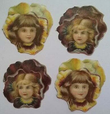 4 cute, smallish  Victorian Scraps. Girls faces in Flowers App.4&1/2×4&1/22cms.