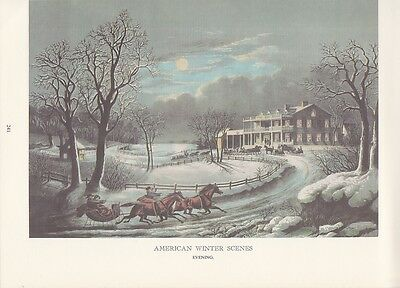 """1974 Vintage Currier & Ives COUNTRY LIFE """"AM. WINTER EVENING"""" COLOR Lithograph"""