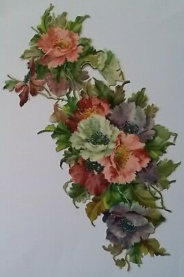 V.Large,Emboss, Lovely Victorian Scrap of Pastel Coloured  Poppies. App 29x13cms