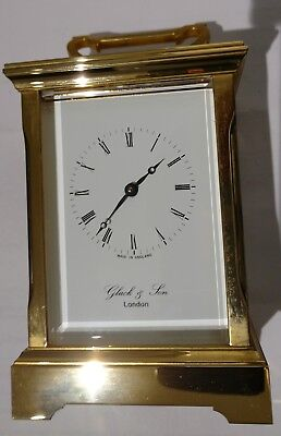 Gluck carriage clock, bevelled glass sides and top. With key. Very high quality