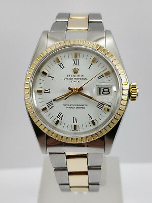 ROLEX Oyster Perpetual Date Vintage Mens 34mm Watch ref 1505 Steel Gold Rare