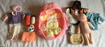 Lot Of Crochet Baby Doll & Accessories Bassinet, Diaper Bag, Bottles, Outfits