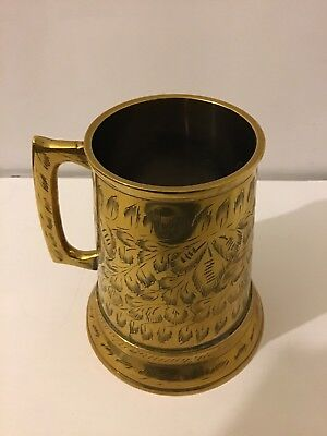 India Brass Glass Bottom Tankard Engraved BW 646