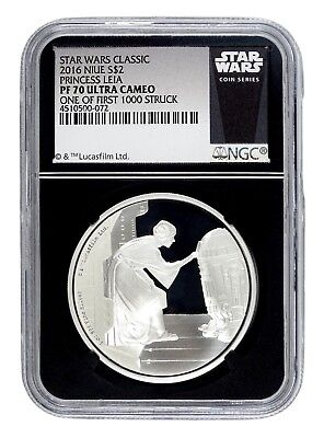 AUC0574 Star Wars 2016 S$2 1 oz Silver Princess Leia Coins NGC PF70 Ultra Cameo