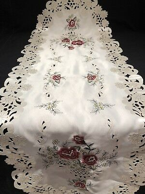 Vintage Satin Christmas Rose Table Runner Ivory Embroiderered Lace Scallop Edge