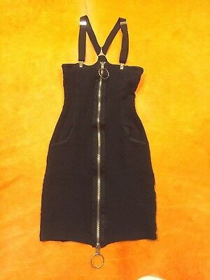 Womens Vintage 80s XS-S BETSEY JOHNSON Stretchy Black Punk Fitted Wiggle Dress
