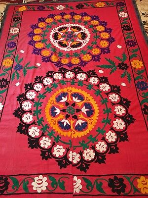 Antique Uzbek Vintage Wall Decor Large Handmade Embroidery Tablecloth Suzani