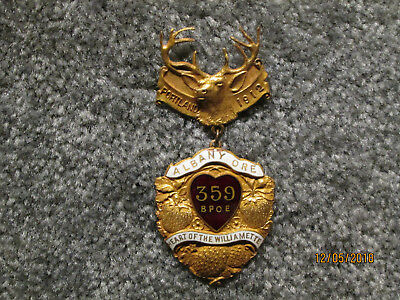 RARE ANTIQUE 1912 ELKS NATIONAL CONVENTION PIN  ISSUED BY  ALBANy ORE BPOE