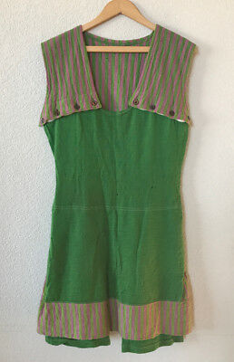 Antique 1920s 1930s Wool Womens Swim Bathing Suit Swimsuit Green Pink Stripe