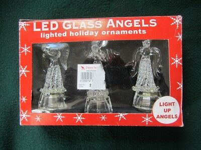 Led Glass Angels~Lighted Holiday Christmas Ornaments/figure~New~Non-Working