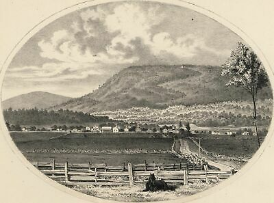 Manchester Village Equinox Mountain Vermont 1861 lithographed view print