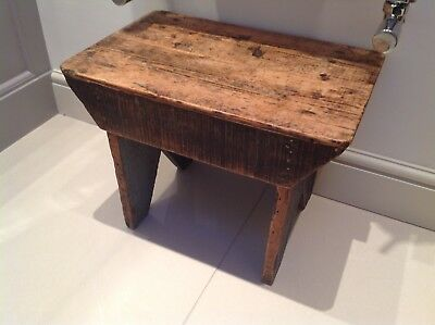 Antique French Small Wooden Milking/Child's Stool Rustic