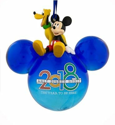 Disney World Parks Large 2018 Blue Mickey Icon Glass Ornament ft Mickey & Pluto