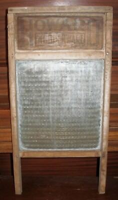 "Antique Glass ""Howard Woodenware"" Washboard 24X12 Vintage"