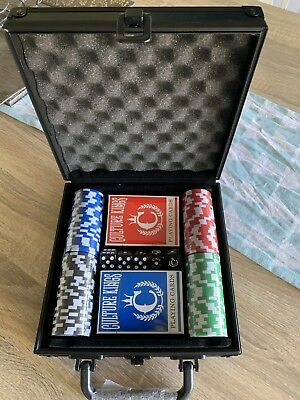 Culture Kings 100 Chips Poker Card Game Play Set Carry Case Casino Dice Gamble