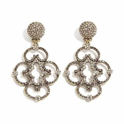 "Heidi Daus ""Chinois Seduction"" Pavé Crystal Drop Pierced Earrings $140 Retail"