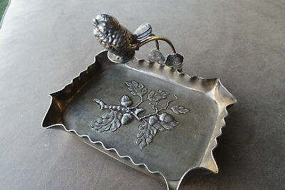 Ca.1890 - 1910 RARE Pairpoint Silverplate Figural SONG BIRD OVER HAZELNUT TRAY