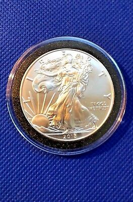 2018 American Silver Eagle 1 Troy Oz. .999 Gem BU $1 Coin In Capsule~Free Ship
