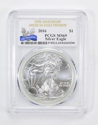 Graded - MS69 2016 Silver Eagle 30th Anniversary - Graded By PCGS *811
