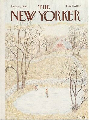 COVER ONLY The New Yorker magazine February 4 1980  MARTIN ~ Skating pond hockey