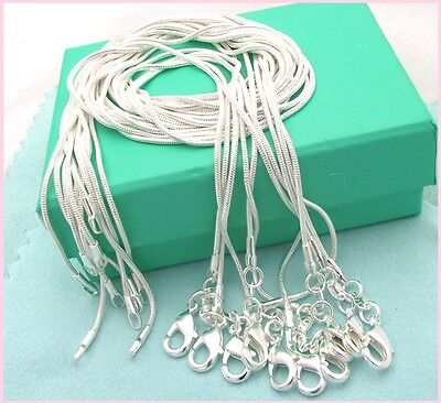 10PCS Wholesale1MM 925 Sterling Solid Silver Snake Chain Necklace AST339