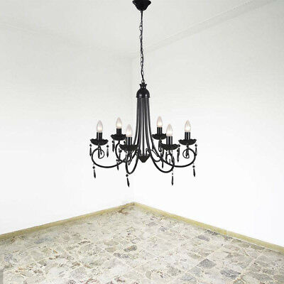 6 Light French Gold Empire Crystal Chandelier Living Dining Room Foyer Kitchen