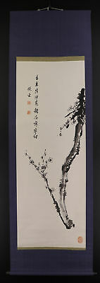 """JAPANESE HANGING SCROLL ART Painting """"Plum tree"""" Asian antique  #E5160"""