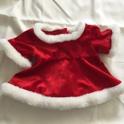 Build A Bear Christmas Santa Mrs Claus Red Holiday Dress & White Fur Costume