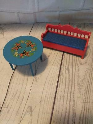 Vintage Ludby Miniature Doll House Furniture Red Bench Blue Seat Table