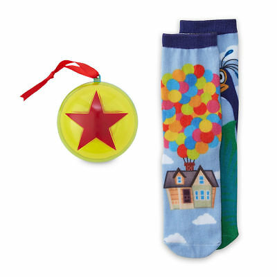 Disney Store Up Carl's Balloon House & Kevin Holiday Socks in Ornament Set XS/S