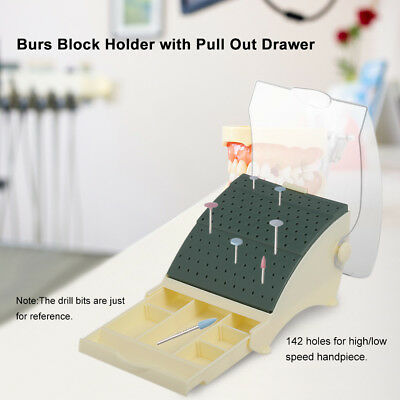 142Holes Dental Burs Drill Holder Stand Block Disinfection Case With Drawer N5T9