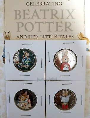 Full Set Of 4 Beatrix Potter 50P 2018 Uncirculated Coins From Sealed Bags