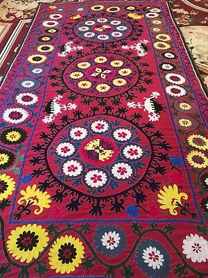 Antique Uzbek Beautiful Large Handmade Wall Decor Surkhandarya Embroidery Suzani