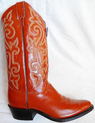 New JUSTIN 7 EE Antique Tan London CALF Leather Madein USA Cowboy Boot OLD STOCK