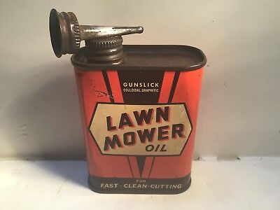 Vintage Lawn Mower Can handy oiler Lead Top 4 oz Rare oil home whiz tin 3 Texaco