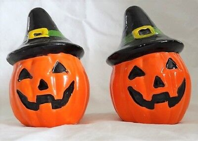 VINTAGE Halloween Salt & Pepper Shakers - Pumpkin/Jack-O-Lantern w/Witches Hats
