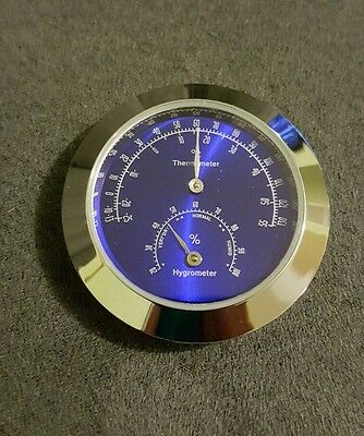 New 43mm Thermometer/Hygrometer Insert Cigar Humidor Weather Station Blue