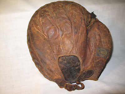 Very Rare Antique Early 1900's Sell Brand Leather Baseball Catchers Mitt Glove