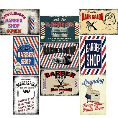 Retro Metal Tin Signs Barber Shop Open Vintage Plate Laundry Art Wall Decor