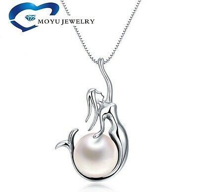 """925 Sterling Silver Freshwater Pearl Mermaid Pendant 18"""" Chain Necklace Gift Box"""