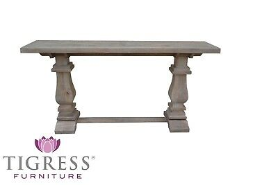"""Tuscany"" White Wash 120cm Hall Console Table Parquetry with Pedestal Base"