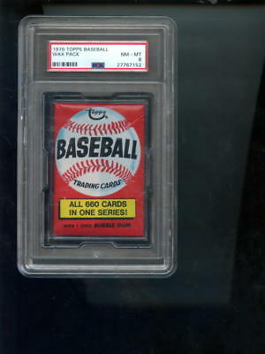 1976 Topps Baseball Card Unopened Wax Pack T-Shrit Ad TShirt NM-MT PSA 8 Graded