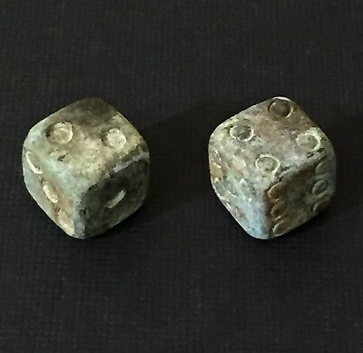 Ancient Roman Superb Pair Of Bronze Gaming Dice. 1St To 3Rd Century A.d.