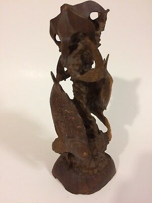 "Vintage Hand Carved Solid One Piece Wood Twin Double Koi Fish Statue 8"" tall"