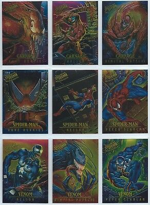 1995 Fleer Ultra Spider-Man Masterpieces Complete 1-9 Card Insert Set Venom