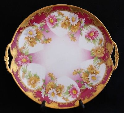 Antique Hand Painted Limoges Coronet pink yellow white flowers Cake Plate