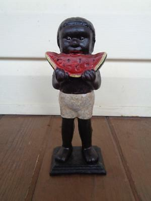 Black Americana Boy With Eating Watermelon Cast Iron Bank Still Coin Bank
