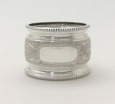 A Fine Antique Bright Cut Engraved Beaded Sterling Silver Napkin Ring
