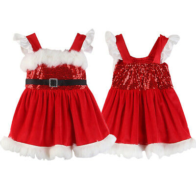 Christmas Baby Girls Toodler Kids Xmas Cotton Sequin Dress Party Dresses